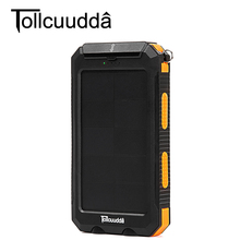 Tollcuudda 10000mAh Portable Solar Power Bank Charger PowerBank For Samsung Iphone Extend Battery Charge Waterproof with Compass