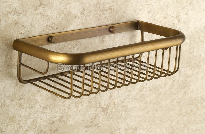 11.8 inch (300mm) Antique Brass Wall Mounted Single Tier Soap / Sponge Shower Storage Basket Bathroom Accessories Wba523<br>