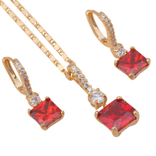 brand designer Garnet jewelry sets Square shape Earrings Necklace  gold color Red Crystal Fashion Jewelry JS538A