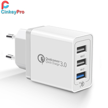 CinkeyPro 3-Ports USB Charger Quick Charge 3.0 12V/1.5A 9V/2A Fast Charging for Samsung iPhone iPad Wall Mobile Phone Adapter