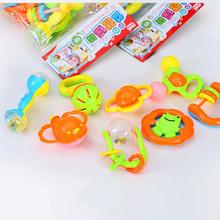 (8pcs/pack, 1 pack retail) Cute newborn infant baby rattle toy toddler kids plastic musical rattles children's toys gifts