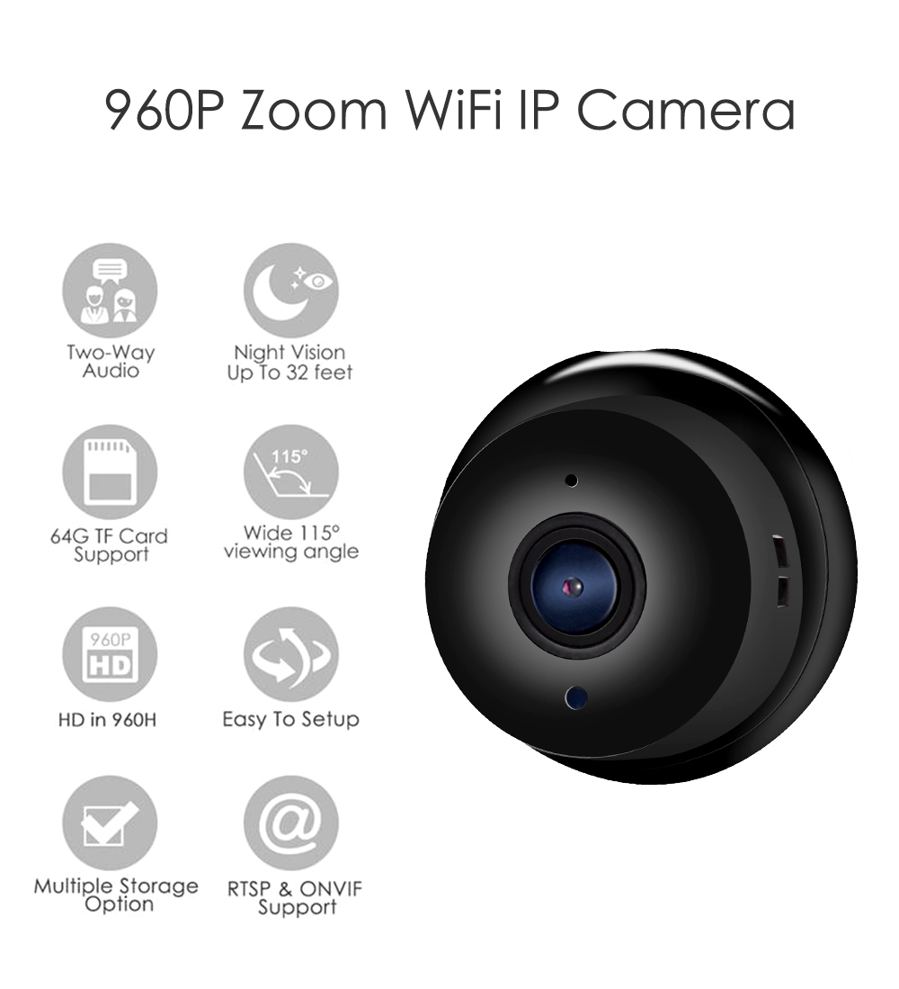 Wistino 960P Wireless IP Camera VR Mini WIFI Camera IR Night Vision Smart Home Security Camera Onvif Monitor Baby Monitor 2 (1)