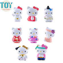 New 8pcs Hello Kitty Kt Cat Full Dress Plastic PVC Action Figure Doll Model Toys Gifts Collection Figurine Cake Toppers