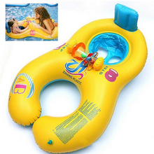 Safe Inflatable Mother Baby Swim Float Ring Kids Seat Double Person Swimming Pool Flamingo Donut Swan Newborn Swimming Ring(China)
