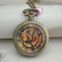 antique bronze bird hunger games pocket watch necklace hour Long new fashion low price good quality woman lady girl gift