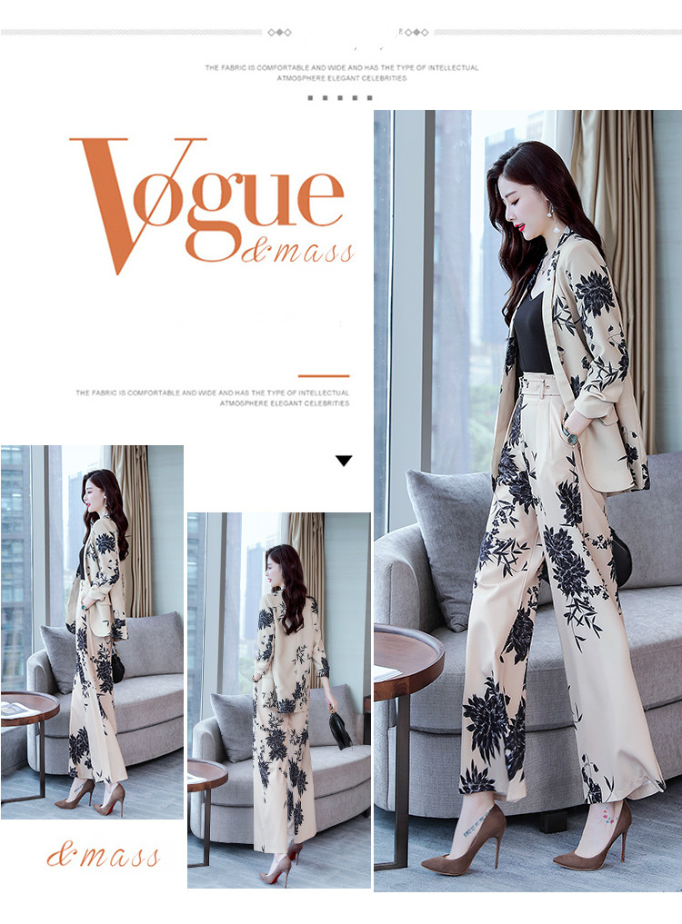 YASUGUOJI New 2019 Spring Fashion Floral Print Pants Suits Elegant Woman Wide-leg Trouser Suits Set 2 Pieces Pantsuit Women 9 Online shopping Bangladesh