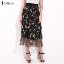ZANZEA Women Vintage Skirts 2017 Summer Boho Elegant Black Floral Embroidered Mesh Overlay Midi A Line Skirts Plus Size S-5XL(China)
