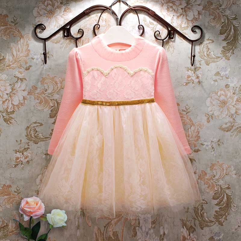 toddler girl dresses 2017 autumn sweet bow lace girls dresses kids dress princess long sleeve patchowrk toddler girl vestidos<br>