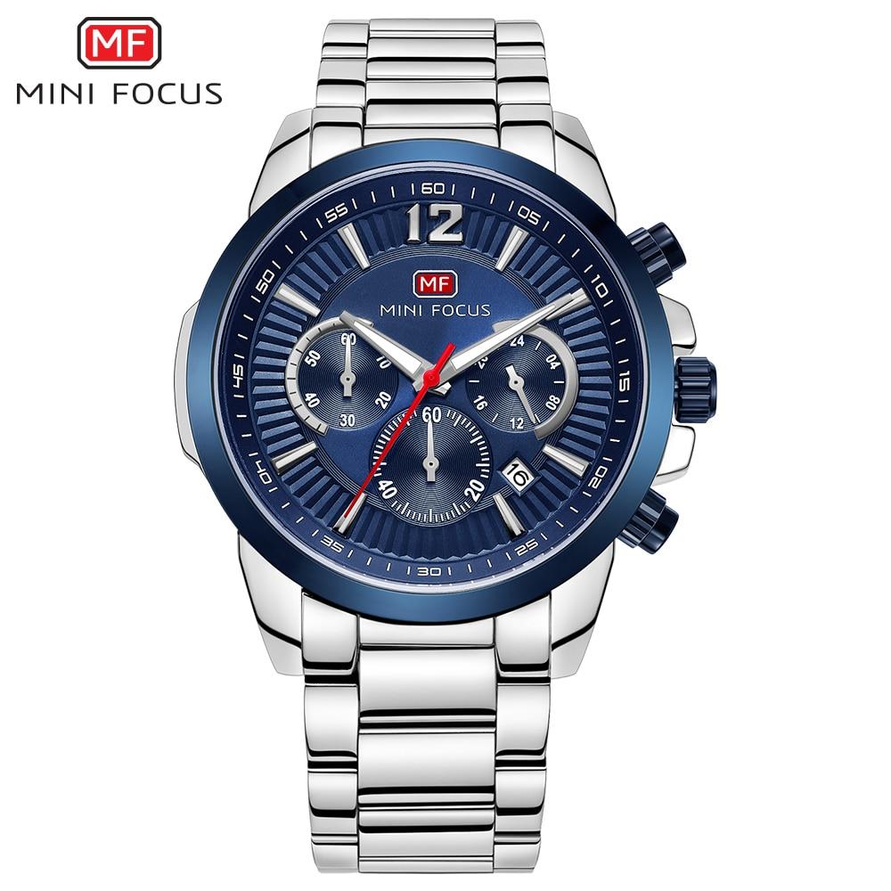 MINIFOCUS Business Quartz Watch Men Fashion Stainless Steel  Luminous Chronograph Mens Wristwatch Waterproof Calendar Male Clock<br>