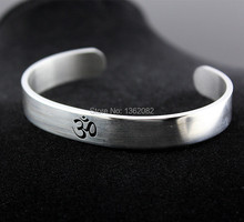 Cool Silver Tone AUM OM Ohm Hindu Buddhist Hinduism Yoga India Stainless Steel Cuff Bangle Opening Bracelet for Men Women MB194(China)