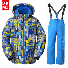 Boys Ski Jacket Children Waterproof Windproof Clothing Kids Ski Set Winter Warm Snowboard Outdoor Ski Suit Boys Ski Set(China)