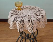 Chinese DIY crochet white table cloth towel cover flowers doilies lace cotton round tablecloth for kitchen wedding decoration