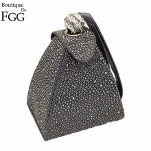 Vintage Diamond Bridal Wedding Purse Mini Gray Pyramid Party Handbags Women Bag Wristlets Clutches Crystal Evening Clutch Bags(China)
