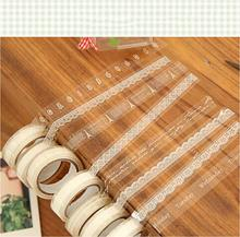 Lace Tape Decoration Roll DIY Cartoon Tower Dot Lace Print Sticky Paper Masking Tape Self Adhesive Tape Scrapbook Tape