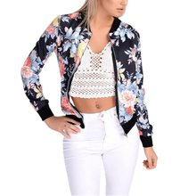 Fashion Style Women Ladies Long Sleeve Biker Short Coat Jacket Floral Printed Zip Top Outwear(China)