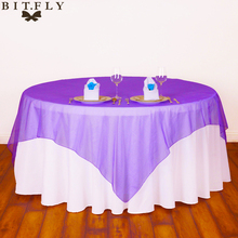5pcs Square Organza Fabric Table Cloth 72*72inch Modern Tablecloths for Wedding Decoration Party Supplies Banquet(China)