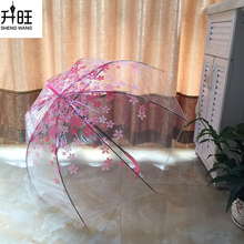 Transparent Clear Umbrella Cherry Blossom Mushroom Apollo Princess Women Rain Umbrella Long Handle Umbrellas(China)