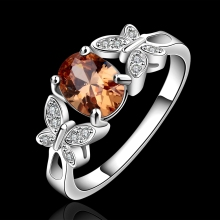 Sweet OL Wind Two Butterfly Champagne Zircon 925 Silver Ring Job Dating Wear