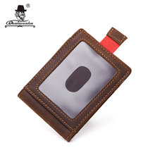 DIOULAORENTOU Mini RFID Wallets Crazy Horse Genuine Leather ID Credit Card Cover Vintage Card Holder Wallet with Money Holder(China)