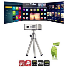 E05 Mini DLP Pocket Projector Android 4.4.4 RK3128 Quad Core 1500 Lumens 854 x 480 Pixels 1080P HD Media Player Support WiFi BT