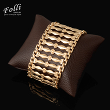 2017 New Fashion Big Bracelets & Bangles Gold Color 2016 New Design Copper Luxury Bracelet Famous Brand Jewelry for Women 20CM