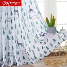 party christmas curtains for living room green tree rudolph window eyelets curtain for children bedroom kitchen reindeer drapes - Christmas Kitchen Curtains