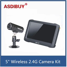 "5"" HD Portable 2.4GHZ Wireless Monitor Receiver Mini DVR+Night Vision Camera Li-battery powered wireless camera kit portable use"