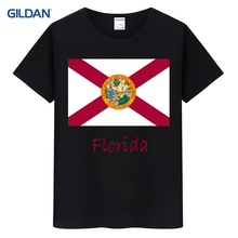 Tee Shirt Black And White 2017 Florida State Flag Black T Shirt Summer Black White T-Shirt 100% Cotton Clothing(China)
