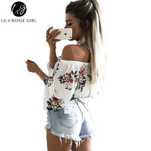 Off Shoulder Floral Print Sexy Choker Women Blouse Casual Long Sleeve Shirt Autumn Tops Slash Neck Party Beach Girls Blusas