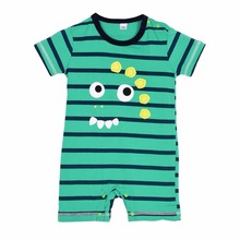 Newborn Baby Summer Cotton Boy Girl Totoro Striped Rompers One-piece Rompers Jumpsuits Infant Clothing 0-24M