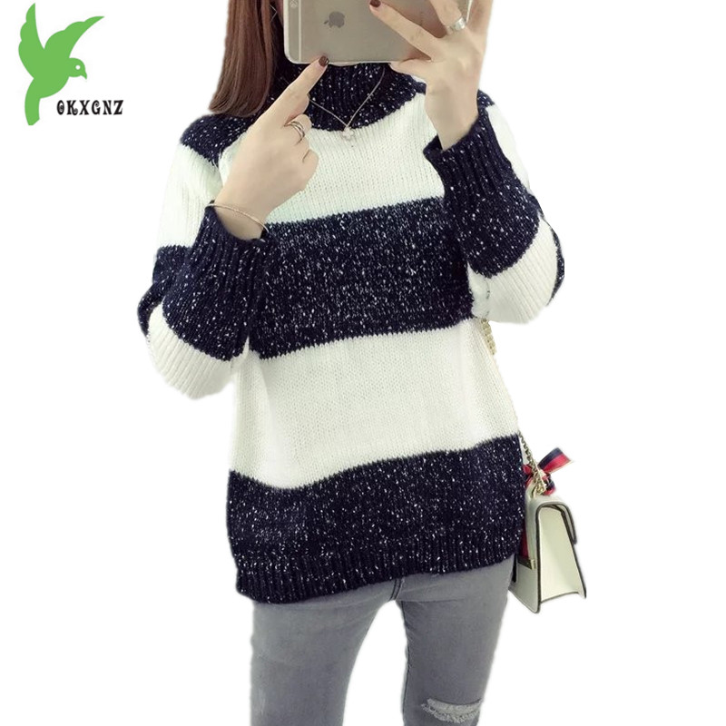 New Winter Women Knitted Sweater Fashion Stripes Pattern Thick High-necked Casual Tops Loose Pullovers Student Clothes OKXGNZ823