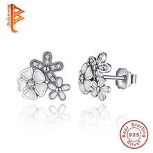 Elegant 100% Original 925 Sterling Silver Poetic Daisy Cherry Blossom Stud Earrings with Clear CZ for Women Engagement Jewelry