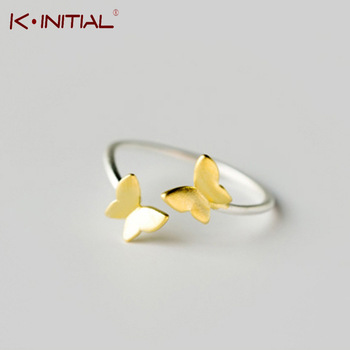 Kinitial 925 Sterling Silver Ring Gold Butterfly Open Ring Midi Pinkie Finger Toe Rings Anillo For Lady Women Christmas Jewelry