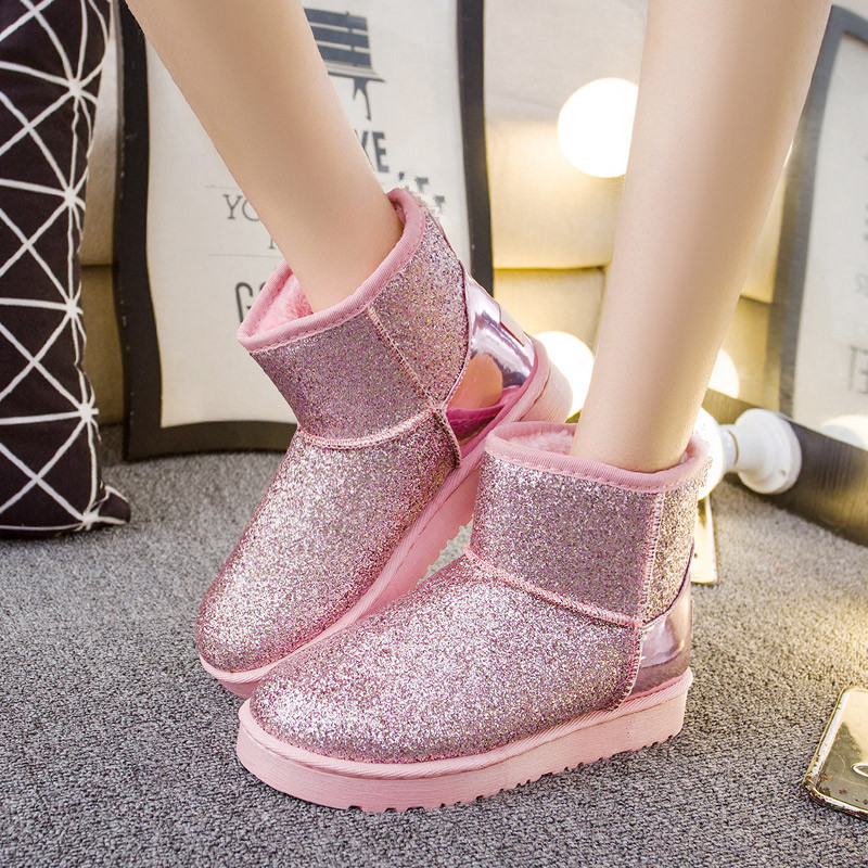 2017 Fashion brand women shoes Sequined Cloth winter snow boots for women Ankle Rubber boots Cheap female Australian Boots(China)