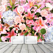 Flower world Photo Wallpaper Custom Large View Wallpaper Canvas Silk Wall Painting Art Mural Room decor Rose Lily Tulip Flowers