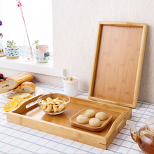 Simple bamboo  Kung Fu tea serving tray home large rectangular cup saucer storage tray fruit cake tray with handle