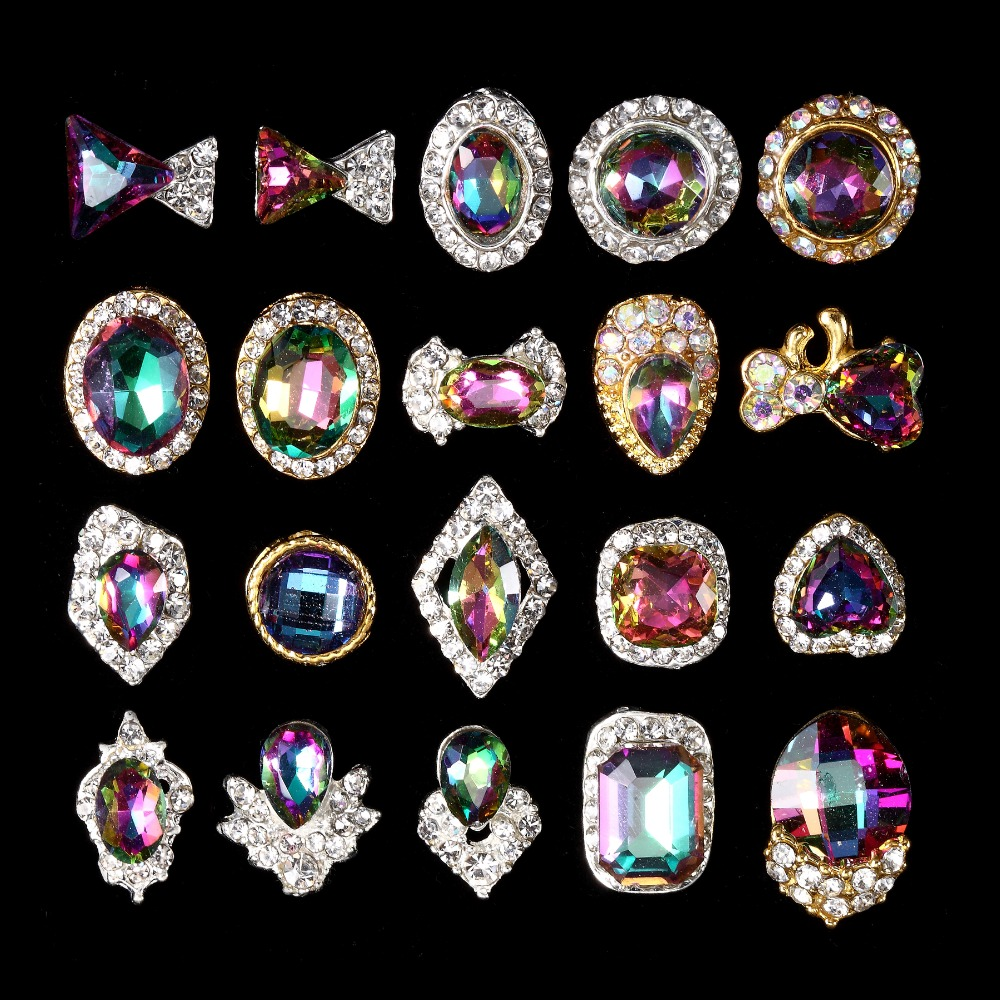 Бесплатная доставка Новинка 100 шт. для Радуга Swarovski ногтей стразами обращения назад strass Chatons Diamant 3D Nail Art Украшение(China)