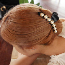 Girls Long Hair Accessories Imitation Pearl Hair Barrettes Elegant Ponytail Hair Clip Bangs Clamp for Women Size L M S