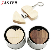 JASTER wooden Heart + metal gift box USB Flash Drive Pendrive 64GB 32GB 16GB 8GB U Disk Memory Stick photography wedding gifts