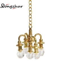 Dongzhur Dollhouse Miniature Furniture 1:12 Doll House Scene Accessories Mini Lamp Chandelier Can Not Light Miniature Chandelier(China)