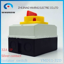 Isolator switch YMD11-32D 3P 690V with protective box waterproof load break rotary changeover switch air-conditoning pump system(China)