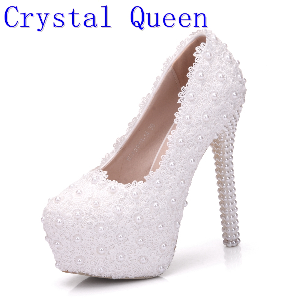Crystal Queen White Wedding Pumps Sweet White Flower Lace Pearl Platform High Heeled Pump Shoes Bride Dress Lace High Heels<br>
