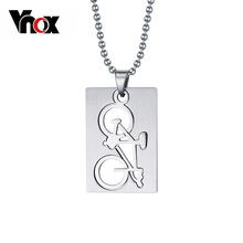 Vnox Punk Men's Bike Bicycle Necklace & Pendant Stainless Steel Sport Jewelry Dog Tag Accessories