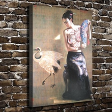 1360 Sexy Girl With Swan Naked Figures Scenery.HD Canvas Print Home decoration Living Room bedroom Wall pictures Art painting