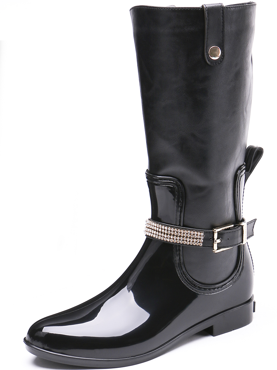 TONGPU Spring and Autumn PVC Boots with PU Leather Shaft Zipper Closure Womens Knee High Rain Boots58-394<br>