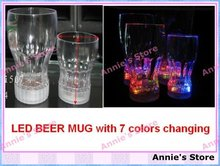 Wholesale LED BEER MUG, LED flashing beer cup,  fancy light glass, 7 colors changing, free shipping