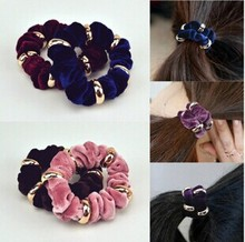 5 Pcs/ Lot Fashion Multi-colored Velvet Elastic Hair ties/ Women Ponytail Holder Hair Accessories(China)