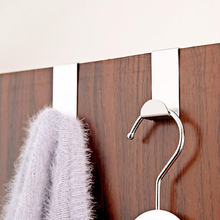4pcs Stainless Steel Over Door Hook Clothes Bag Towel Hanger Holder Pothook Home Kitchen Bathroom Supplies(China)