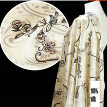 Free Shipping 100% Mulberry Silk Fabric Printed Pure Silk Satin Fabric For Silk Dress(China)