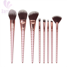 ISMINE Rose Gold 8 PCS Unicorn Brush Makeup Brush Set Nylon Hair Eyebrow Eyeshadow Powder brush Rose Golden Portable brushes